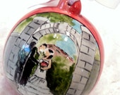 Custom wedding portrait Christmas ornament handmade from your photo and personalized by MagicMarkingsArt on Etsy