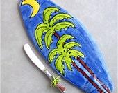 Beach party serving platter- surf art, beach home decor, wall art, 12x5 inch platter with surfboard knife