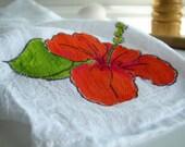 Hibiscus- tea towel, luau, garden party, kitchen decor, hostess, teacher gift idea, white cotton