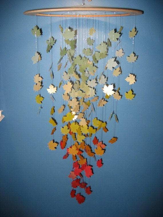 Autumn Leaves Paper Chandelier Mobile Large