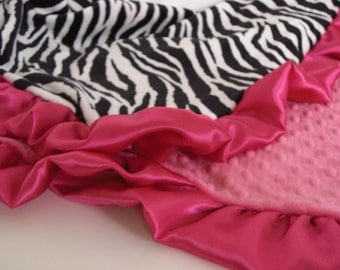 Fuschia and Zebra Minky Blanket  for Baby, Toddler, or Adult