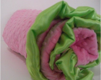 Hot Pink Dot with Kiwi Lime Green Dot Minky Baby Blanket with size options baby, toddler and adultCan Be Personalized