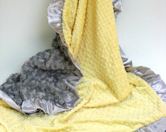 Yellow and Charcoal Gray Minky Blanket Many Sizes Available