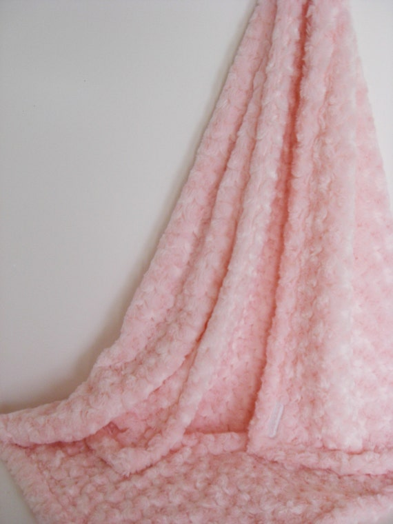 Plush Rose Swirl Minky Blanket in Pink with Monogram Available