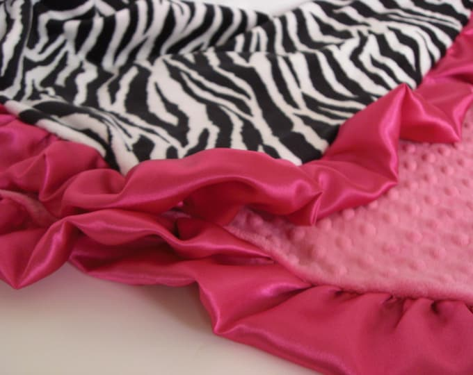 Fuschia and Zebra Minky Blanket  for Baby, Toddler, or Adult Can Be Personalized