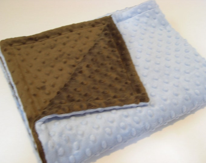 Blue and Brown Minky Dot Baby Blanket, Chocolate Brown Minky Blanket, Brown Blue Baby Boy Blanket, Minky Baby Blanket Can Be Personalized