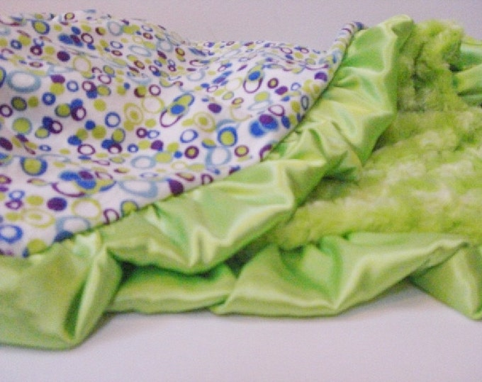 Blue and Green Minky baby Blanket for Boy - Personalized