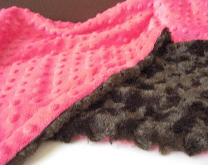 Pink Brown Minky Dot Blanket - Fuchsia and Brown Swirl