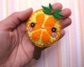 FREE SHIPPING - Oki Orange Lollipop Plush Felt Hairclip