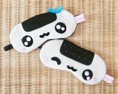 FREE SHIPPING! 2 Pieces Sleeping Eye Masks - Kawaii Onigiri Sushis (For Couple or Wedding gifts)