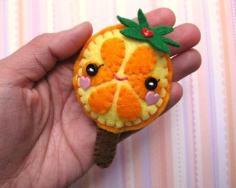 FREE SHIPPING - Oki Orange Lollipop Plush Felt Hairclip