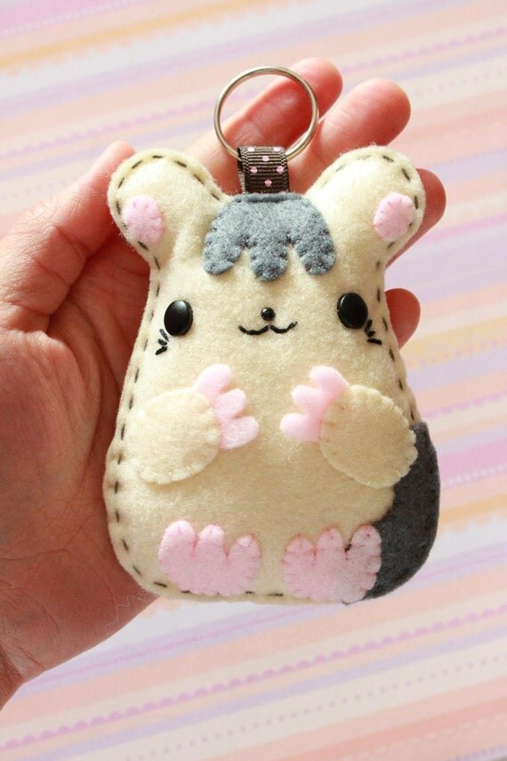 FREE SHIPPING - Animal Felt Keychain - Tuffie Hamster