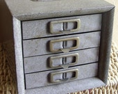 Antique Industrial Metal Drawer Set for Tool and Hardware Storage - Treasury Item