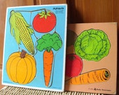 Vintage Wood Vegetable Puzzles Toddler Preschool Playskool Garden Theme