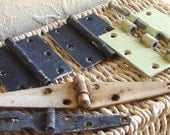 SALE Old Metal Door Hinges for Altered Art Steampunk Collage Industrial Chic Chippy