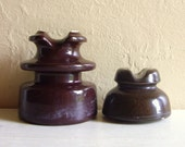Pair of Brown Ceramic Insulators
