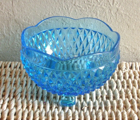Bright Turquoise Blue Glass Footed Candy Dish Home Decor