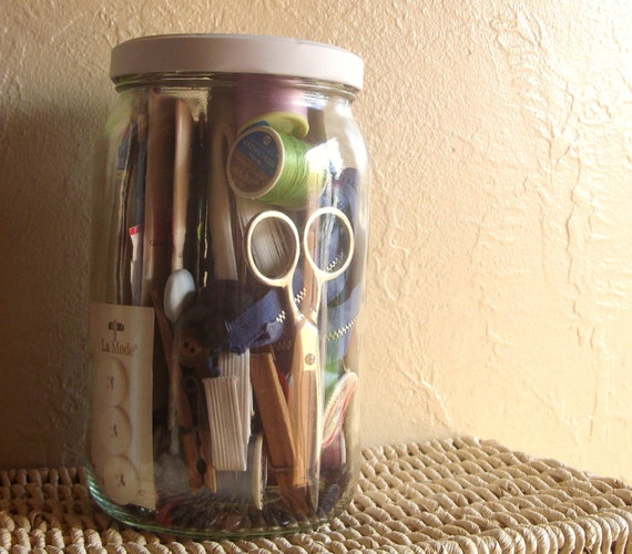 Large Glass Jar Full of Vintage Sewing Notions