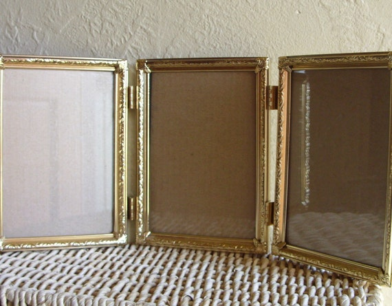 Gold Metal Hinged Picture Frame Triple 5 X 7 Tri Fold Unique