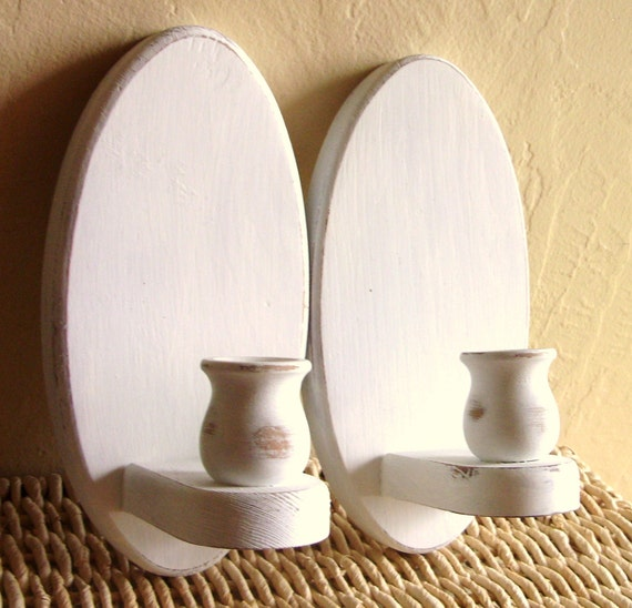 Pair of Shabby Chic White Wood Candle Sconces