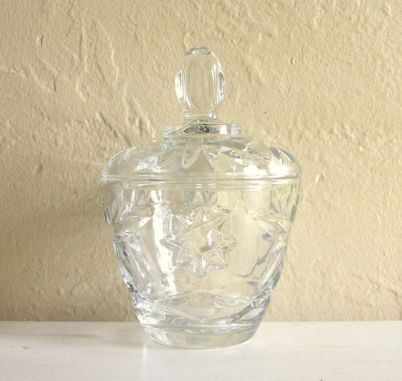 Clear Cut Glass Jar with Lid Small