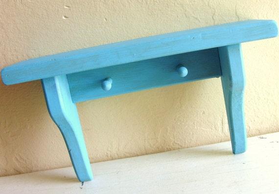 Rustic Turquoise Wood Wall Shelf with Peg Hooks