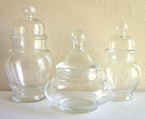 Vintage Clear Bubble Glass Jar Trio with Lids