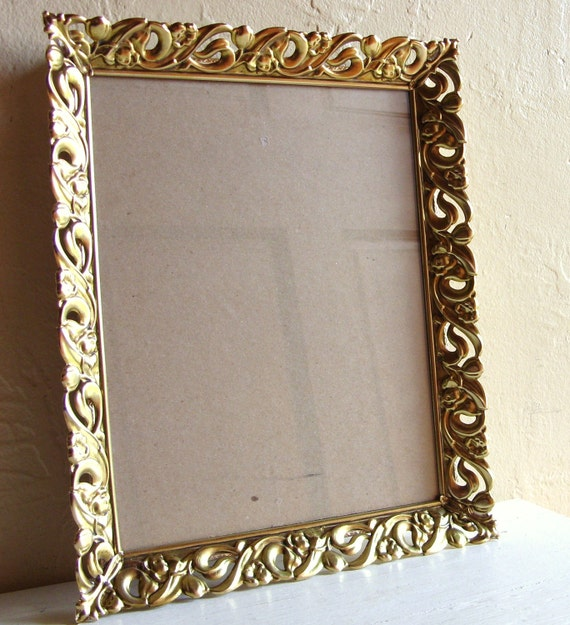 Unique 8x10 Vintage Gold Filigree Wall Hanging Picture Frame with Glass