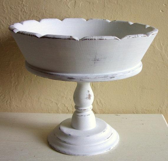 RESERVED Listing - Shabby Chic White Wooden Pedestal Bowl Upcycled Vintage