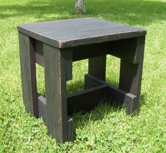 Rustic Black Distressed Wooden Stool Short Table