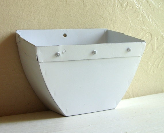 White Shabby Chic Metal Wall Pocket Vase Box Hanging Container