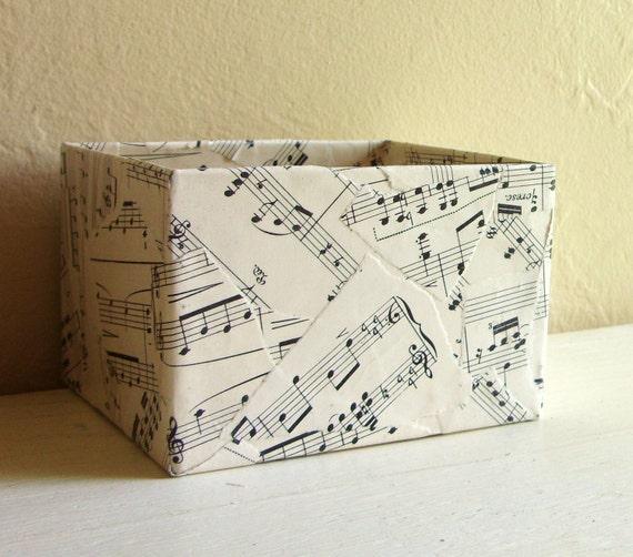 Vintage Sheet Music Decoupage Metal Box Pencil Holder Storage Container
