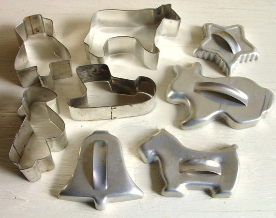 Vintage Silver Metal Cookie Cutters - Set of 8 Eight