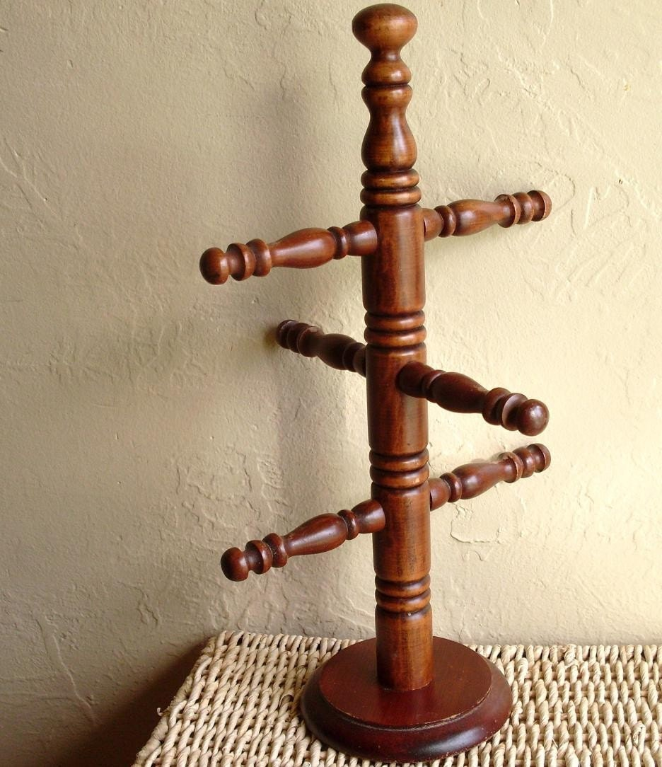 Large Wooden Coffee Mug And Tea Cup Holder Jewelry Hanger