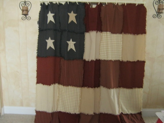 Americana  raggy shower curtain