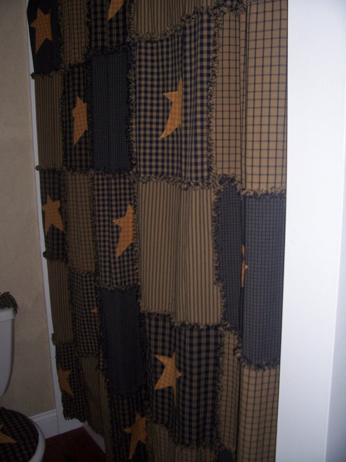 Primitive Raggy Shower Curtain Navy And Tan