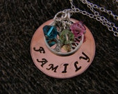 Tree of Life Hand Stamped Necklace - Copper and Sterling Silver with Crystal Pendants - Personalized Family Names