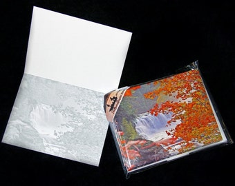 Note Cards, 5, 10 or 20 Pack Note Cards, Autumn Waterfalls Foliage Leaves w/ Envelopes