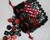 Scalemail Dice Holder in Dragonhide knitted Armor Night Firebird