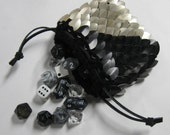 Scale Maille Dice Bag in  Dragonhide knitted armor Lawful Neutral