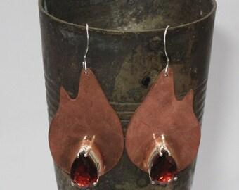 Copper Garnet  Earrings Flame