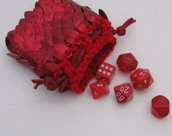 Scalemail Armor Dice Bag in knitted Dragonhide Flame Red