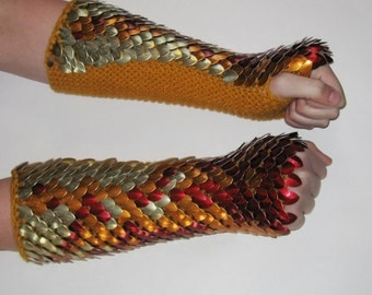 Armor Gauntlets in Knitted Scalemail Elbow Length Pheonix, custom made for you