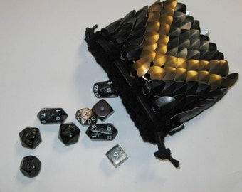 Scale Maille Dice Bag in knitted Dragonhide armor Evil Enforcer