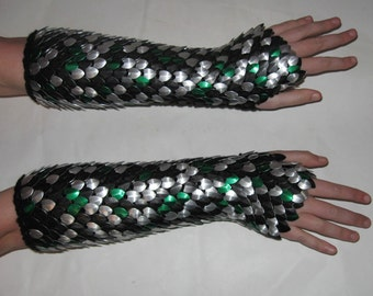 Scale Maille Gauntlets Knitted Dragonhide Armor Chaos Available for Custom Order