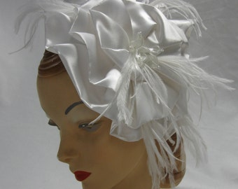Bridal Hat in White Satin with beads and feathers