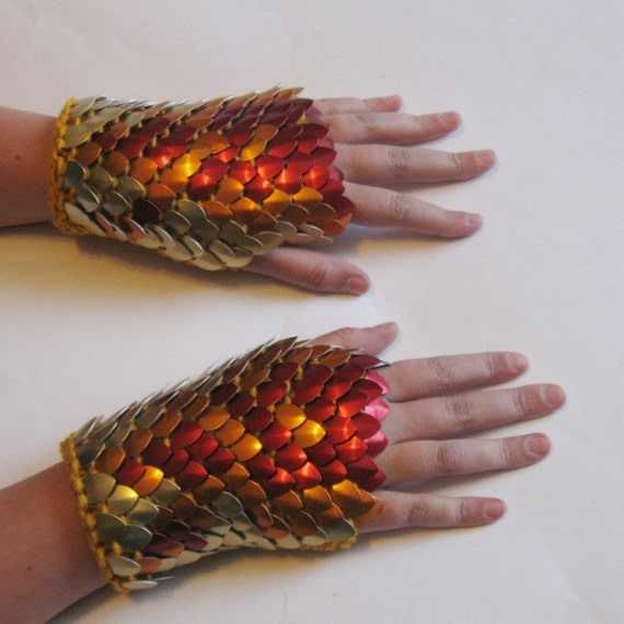 Dragonhide Armor Gauntlets Phoenix knitted scale maille by Crystalsidyll