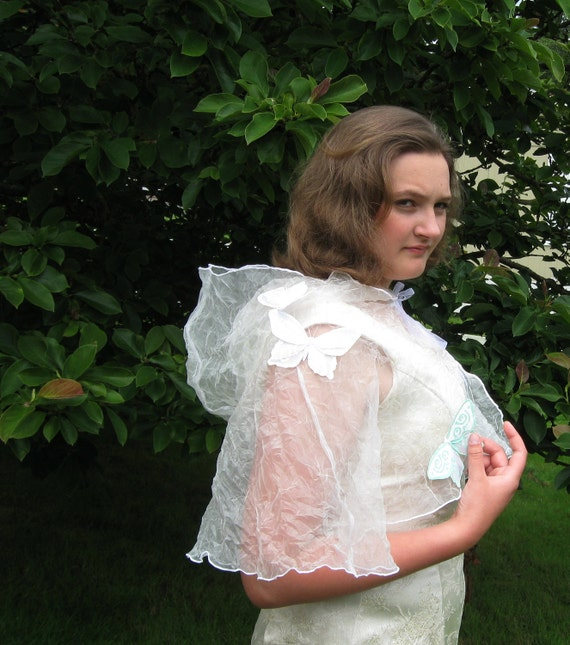 Butterfly Hooded Capelet for fantasy or fairy On Clearance due to butterfly damage