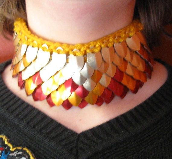 Scalemail Choker Collar in Dragonhide Pheonix Knitted Armor custom made to order