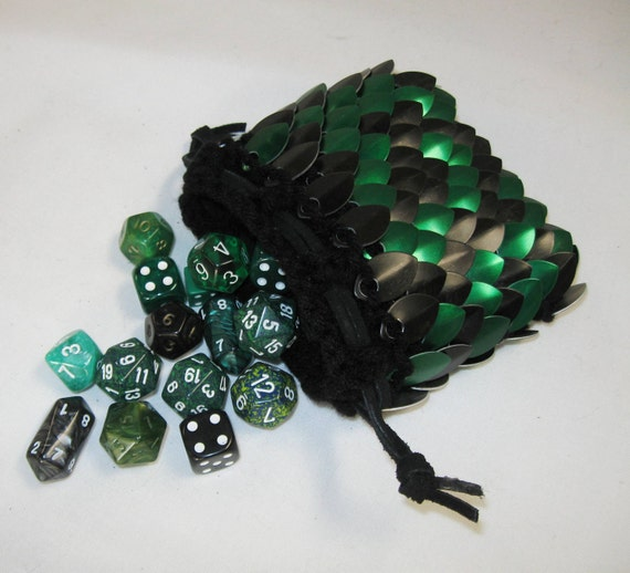 Scale Maille Dice Bag in  Dragonhide knitted armor Black Forest
